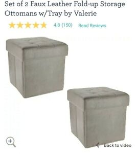SET OF 2 FAUX LEATHER FOLD-UP STORAGE OTTOMANS W/TRAY GRAY Valerie Parr Hill q9