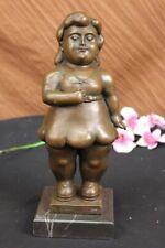 Unterzeichnet Fernando Botero Junger Mädchen Messingskulptur Auf Marmorbasis Nr