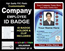 Custom COMPANY / EMPLOYEE ID Badge / Card >CUSTOM W/ Your PHOTO & INFO< PVC ID