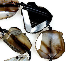 """28x32mm Faceted Black White Agate Gemstone Loose Beads 16"""""""