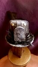 Steampunk Gothic top Hat. Black.Stunning Unique. Whitby Goth. Poe Raven Feathers