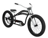 """Big Fat Tire Stretch Beach Cruiser 26"""" x 4"""" Bike Spring Comfort Seat Matte Black"""