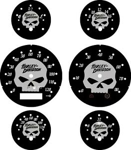 Harley Davidson ST Glide, FLTRX Road Glide Fits Custom Gauge 2005-2013 HD Skull