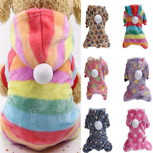 Pet Dog Flannel Jumpsuit Cat Puppy Winter Warm Soft Sweater Pajamas Clothes New