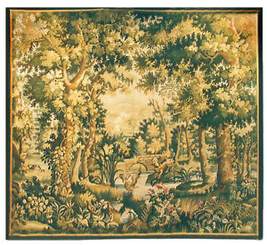 Aubusson Tapestry Hand-woven French Gobelins Weave Wool Wall Hanging Rug 6.5x7.2
