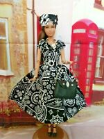 OOAK DOLL CLOTHES HANDMADE FASHIONISTA CLOTHES BLACK & WHITE OUTFIT DRESS SET