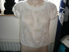 Cream on/off the shoulder lace effect top size 12