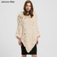 2018 New Women Real Knitted Fur Poncho Real Fur Collar Autumn Winter Shawl 1729