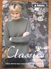 ~PATONS Book No. 5001-CLASSICS in BLUEBELL 5ply/8ply YARNS-SIZES XS to XXL-VGC~