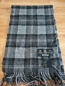 BARBOUR Black & Grey Checked 100% Lambswool Scarf