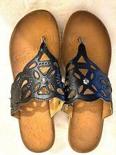 CLARKS Flip Flop Sandal Cork Wedge Heels Brown Faux Leather Sandal Womens Sz 10