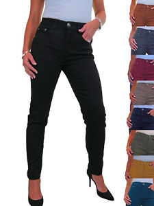 ICE Womens Soft Stretch Denim Jeans High Waist Solid Colour 10-22