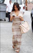 Bebe Wave Stitch Crochet Maxi Dress Kim Kardashian Small