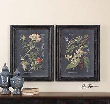 Black Botanical Floral Prints Art | Vintage Antique Style Flower Wall Art