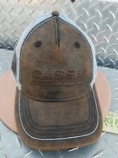 Case IH faux leather double bill white mesh tractor hat cap white stitching new