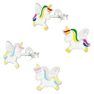 Glitter Wings Unicorn Hypoallergenic 925 Sterling Silver Stud Earrings For Kids