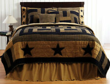 3-pc Delaware Star King Quilt Set - Hand Quilted Shams Black and Tan