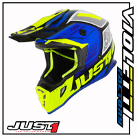 CASCO CROSS ENDURO MOTARD JUST1 J38 BLADE BLU FLUO YELLOW GLOSS BLACK