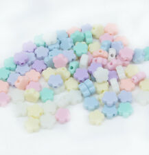 100pc Mixed Candy Colors flower shape Charm Acrylic Space Beads 9x9x4mm Dia.G001
