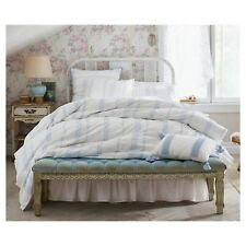 Simply Shabby Chic Bohemian Embroidered Blue White Full Queen Duvet 1 Sham NEW