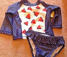 Circo Infant Rash Guard Swim Shirt Sz 3-6 or  6-9 M watermelon girls blue dot