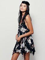 Free People Black Ivory Floral Print Romantic Boho Mini Slip Dress XS S M L NWT