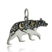 Bear Charm w/ Mountains and Bronze Moon - 925 Sterling Silver Stars Night NEW
