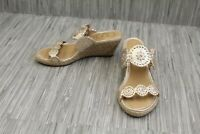 **Jack Rogers Shelby Metallic Leather Wedge Sandals, Women's Size 5M, Platinum
