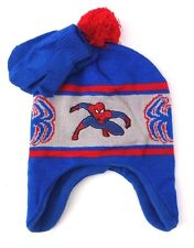 Marvel Ultimate Spider-Man Boy's Ear Flap Pom Hat With Mittens NWT Size 46 cm