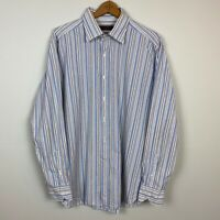 Etro Milano XL Mens Button Up Dress Shirt Blue Stripe Long Sleeve Slim Fit Italy