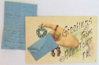 1907 ANTIQUE POSTCARD GREETINGS FROM ALLENTOWN PA  w. MINIATURE LETTER