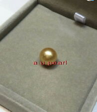 Australia Top REAL perfect round golden 10-11MM LOOSE SOUTH SEA PEARL pendant