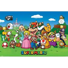"""SUPER MARIO GIANT POSTER """"LICENSED"""" BRAND NEW """"CHARACTERS"""" 1 METER x 1.4 METER"""