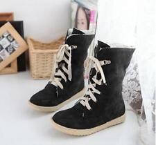 Fashion Faux Suede Women's Lace Up flat Winter Warm Snow Ankle Boots Shoes
