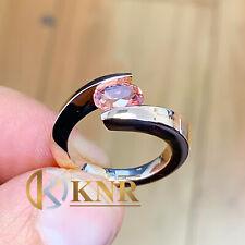 14K SOLID ROSE GOLD PEAR NATURAL MORGANITE ENGAGEMENT RING BRIDAL TENSION 1.50CT