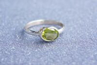 Faceted Peridot Silver Ring Fine Solid 925 Silver Ring Size 6-9