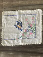 Vintage Handemade Embroidered Cloth Doily Flowers Butterfly