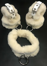 Shearling fur 9 pc leather set comfy wrist ankle cuffs under bed restraint