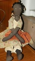 "Vintage Handmade Country Cloth Folk Art RAG DOLL 16"" Black Mother & Baby Prim"