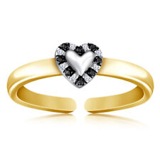 925 Silver 10K Yellow Gold Plated Ladies 0.29 Ct Diamond Toe Adjustable Ring