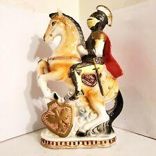 Ceramic Knight Riding Horse Figurine
