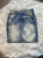 7 For All Mankind Distressed Mini Skirt Blue Denim Size 25