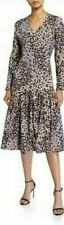 LAURA ASHLEY Dress Sz L Patchwork Leopard Print Long Sleeve Midi Victorian Style