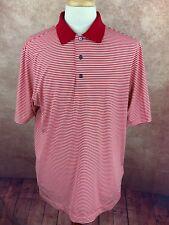 Footjoy Golf Polo Shirt Red White Stripe Embroidered Logo Poly Spandex Men's Lg.