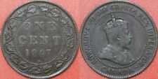Fine 1907H Canada Large 1 Cent