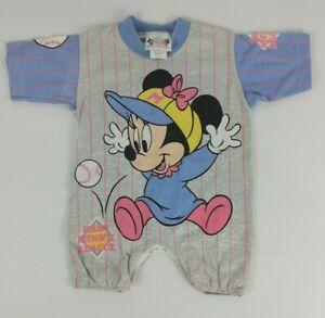 VTG Disney Babies Jog Togs Baby Minnie Mouse Baseball Bodysuit Romper 12 Months
