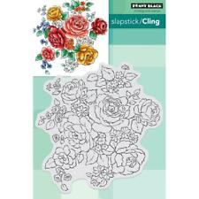New Penny Black RUBBER STAMP FLORAL MEDLEY FLOWERS cling free USA Ship
