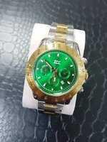 ds Orologio Polso Zcc Uomo Quarzo Cronografo Elegante Oro Silver Fond Verde lac