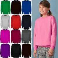 Kids Boys Girls Plain Childrens School Sweatshirt Long Sleeve Jumper Top Fleece