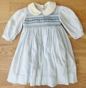 6 months baby girl smocked dress embroidered lined gingham Peter Pan collar blue